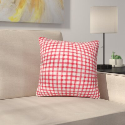 Little Arrow Co Watercolor Buffalo Check Throw Pillow Color: Red, Size: 18 x 18
