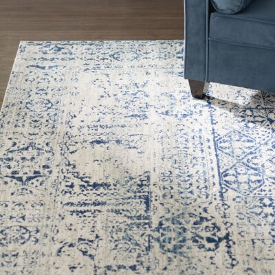 Huma Ivory/Blue Area Rug Rug Size: Rectangle 8 x 10