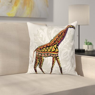 Giraffe African Animal Ethnic Square Pillow Cover Size: 24 x 24