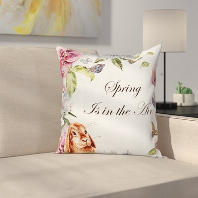 Rabbits Orchid Flowers Square Pillow Cover Size: 16 x 16