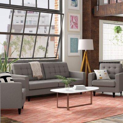 Warren 3 Piece Living Room Set Upholstery: Granite