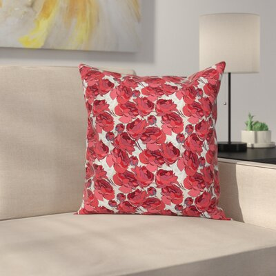 Vibrant Roses Bouquet Square Pillow Cover Size: 18 x 18