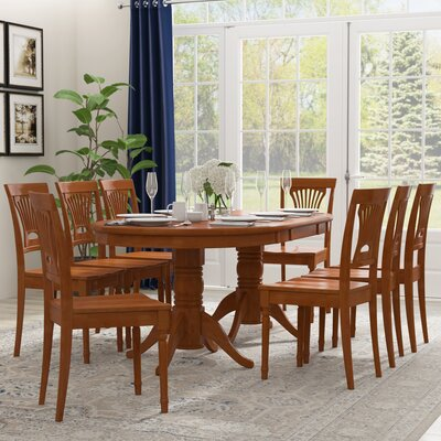 Inwood 9 Piece Rubber Wood Dining Set Finish: Saddle Brown