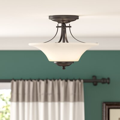 Pompton 2-Light Semi Flush Mount Finish: Oil Rubbed Bronze, Size: 11.5 H x 15 W x 15 D