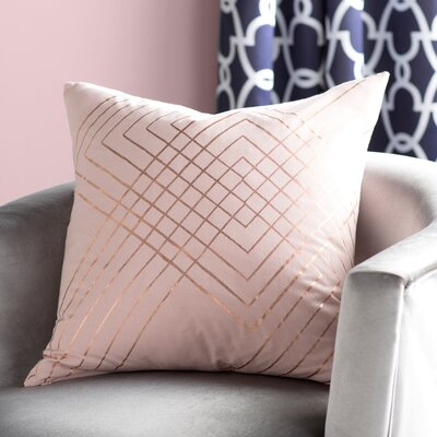 Steele Cotton Pillow Cover Size: 18 H x 18 W x 1 D, Color: Blush/ Metallic-Copper