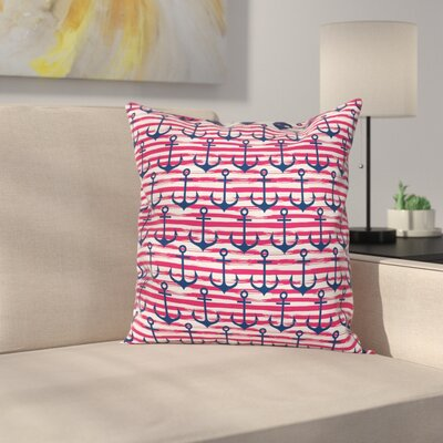 Stripe Anchors Square Cushion Pillow Cover Size: 18 x 18
