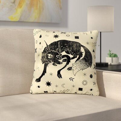 Anya Volk Wolf Illustration Outdoor Throw Pillow Size: 16 H x 16 W x 5 D