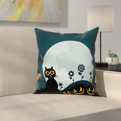 Cat Kitty Under Moon Halloween Square Pillow Cover Size: 18 x 18