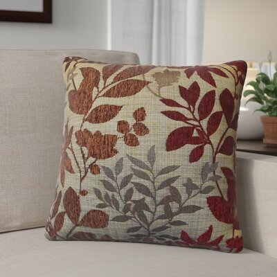 Shan Chenille Jacquard Leaf Throw Pillow Color: Burgundy