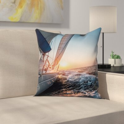 Sail Boat on Sea Hobby Square Pillow Cover Size: 18 x 18