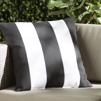 Chardae Pillow-Black & White Vertical Stripe Size: 18 H x 18 W x 4 x D, Color: Black