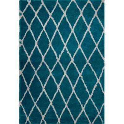 Fancy Trellis Turquoise Area Rug Rug Size: Rectangle 52 x 75