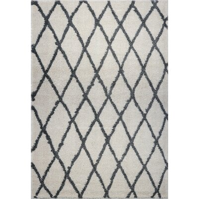 Fancy Trellis Gray/Black Area Rug Rug Size: Rectangle 52 x 75