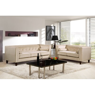 Kittleson Classic Nailhead Chesterfield 2 Piece Living Room Set Upholstery: Ivory