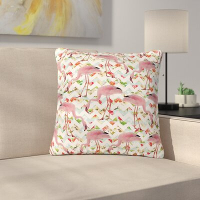 Suzanne Carter Flamingo Chevron & Roses Digital Outdoor Throw Pillow Size: 18 H x 18 W x 5 D