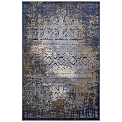Nohlan Turkish Blue/Rust/Cream Area Rug Rug Size: 5 x 8