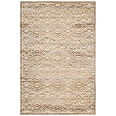 Prisha Rustic Vintage Waves Tan/Cream Area Rug