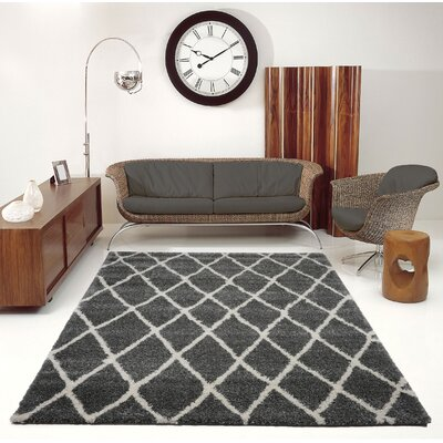 Fancy Trellis Black Area Rug Rug Size: Rectangle 52 x 75