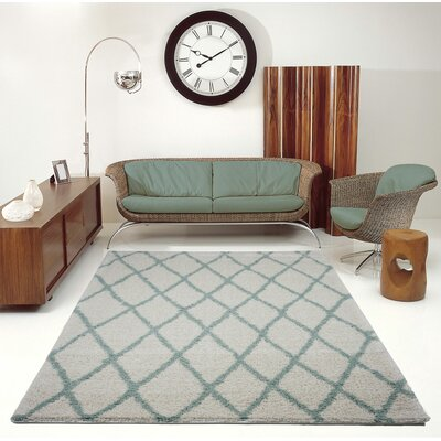 Fancy Trellis Ivory/Aqua Area Rug Rug Size: Rectangle 52 x 75