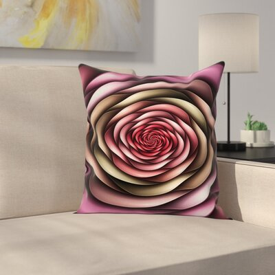 Elegant Rose Petals Modern Art Square Pillow Cover Size: 24 x 24