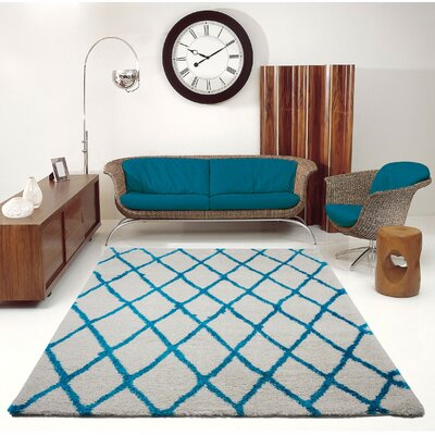 Fancy Trellis Gray/Turquoise Area Rug Rug Size: Rectangle 52 x 75