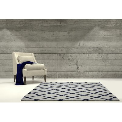 Fancy Trellis Light Gray/Navy Area Rug Rug Size: Rectangle 52 x 75