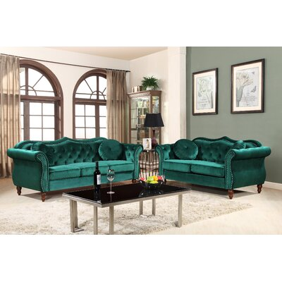 Carbon Classic Nailhead Chesterfield 2 Piece Living Room Set Upholstery: Green
