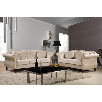 Carbon Classic Nailhead Chesterfield 2 Piece Living Room Set Upholstery: Ivory