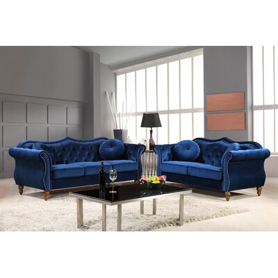 Carbon Classic Nailhead Chesterfield 2 Piece Living Room Set Upholstery: Blue