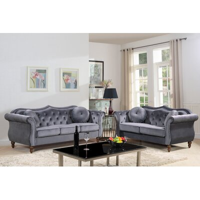 Carbon Classic Nailhead Chesterfield 2 Piece Living Room Set Upholstery: Gray