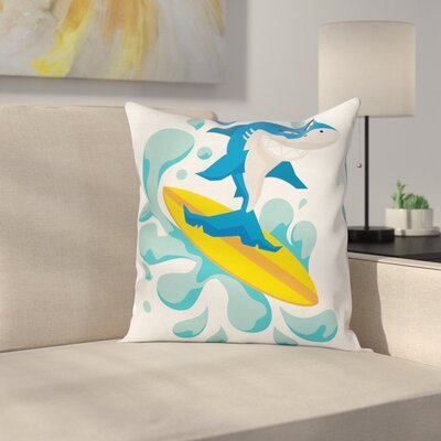 Funny Shark Surf Square Cushion Pillow Cover Size: 16 x 16