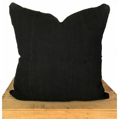 Plain African Mud Cloth Pillow Cover Color: Black