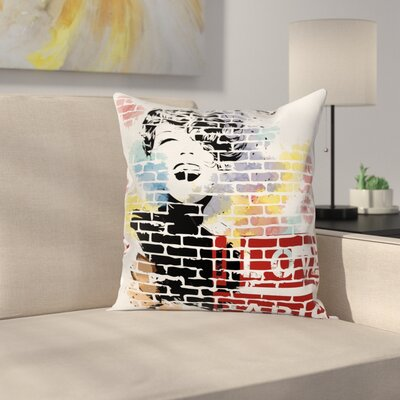 Paris Fashion Girl Graffiti Square Pillow Cover Size: 24 x 24