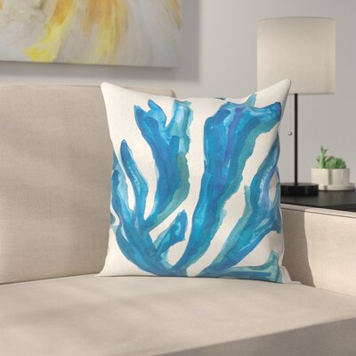 Jetty Printables Watercolor Seaweed Painitng 2 Throw Pillow Size: 14 x 14