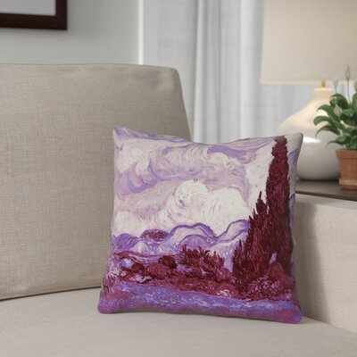 Lapine Mauve Wheatfield with Cypresses Square Cotton Throw Pillow Size: 26 H x 26 W