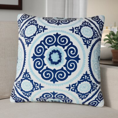 Toby Embroidered 100% Cotton Throw Pillow Color: Blue