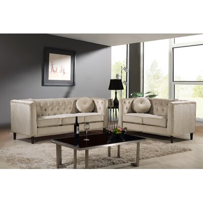 Kitts Classic Chesterfield 2 Piece Living Room Set Upholstery: Ivory