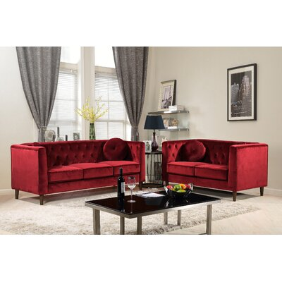 Kitts Classic Chesterfield 2 Piece Living Room Set Upholstery: Red