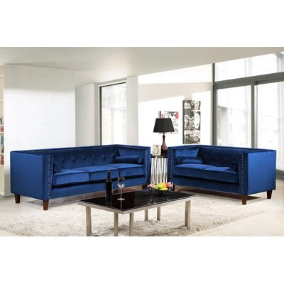 Kittleson Classic Nailhead Chesterfield 2 Piece Living Room Set Upholstery: Blue