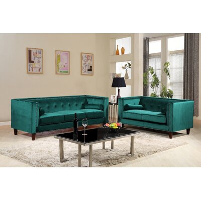 Kittleson Classic Nailhead Chesterfield 2 Piece Living Room Set Upholstery: Green
