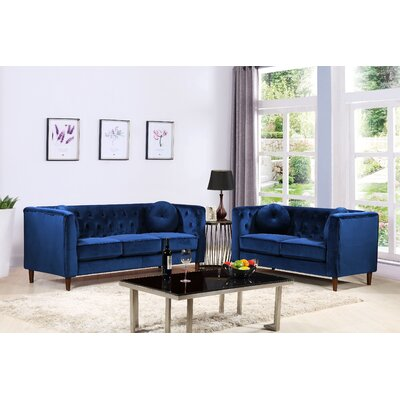 Kitts Classic Chesterfield 2 Piece Living Room Set Upholstery: Blue
