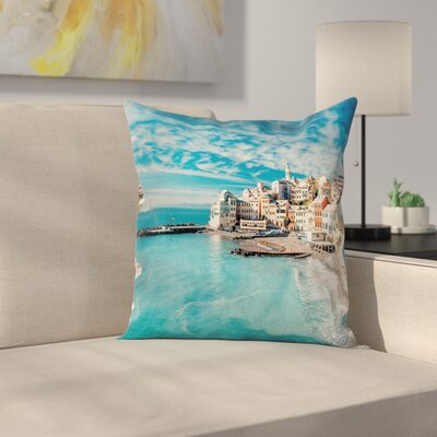 Seascape Ocean Coast Square Pillow Cover Size: 16 x 16