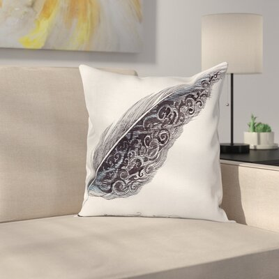 Case Elegant Pen Feather Art Square Pillow Cover Size: 18 x 18