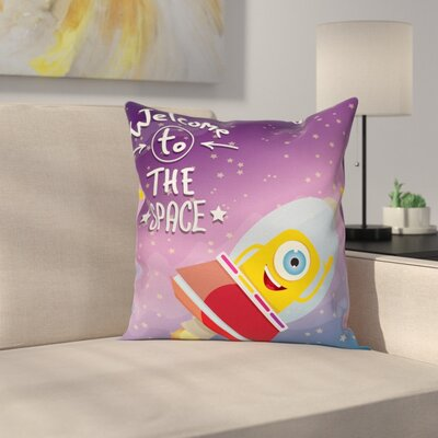 Cartoon Spaceship Alien Kids Square Pillow Cover Size: 16 x 16