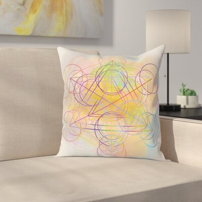 Fabric Abstract Art Geometric Square Pillow Cover Size: 16 x 16