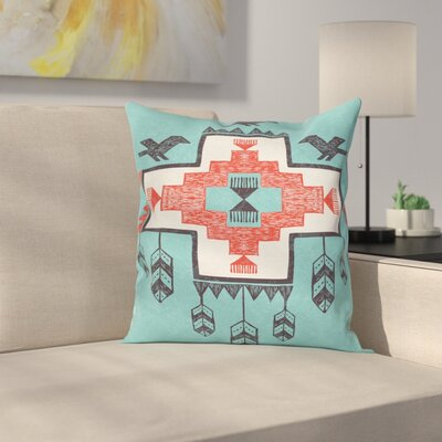 Tribal Vintage Native Indian Square Pillow Cover Size: 18