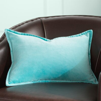 Trini 100% Cotton Lumbar Pillow Cover Size: 13 H x 20 W x 1 D, Color: Aqua