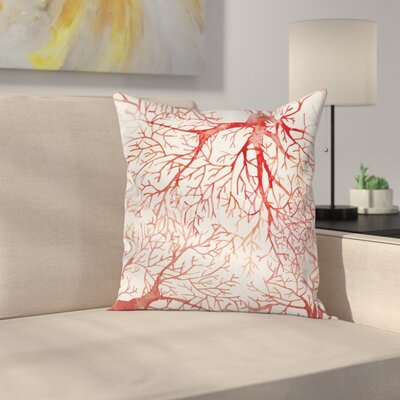 Watercolor Branchs Fall Square Pillow Cover Size: 18 x 18