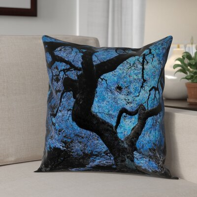 Ghost Train Blue Japanese Maple Tree Throw Pillow Cover Size: 26 H x 26 W
