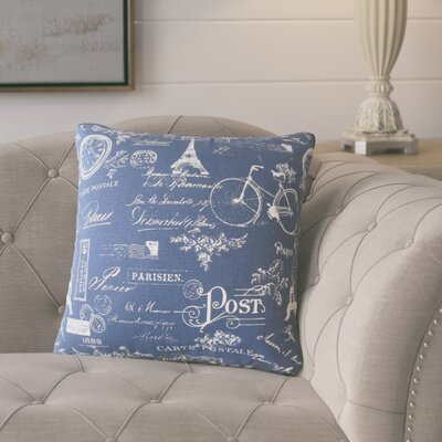 Banat Typography Cotton Throw Pillow Color: Indigo